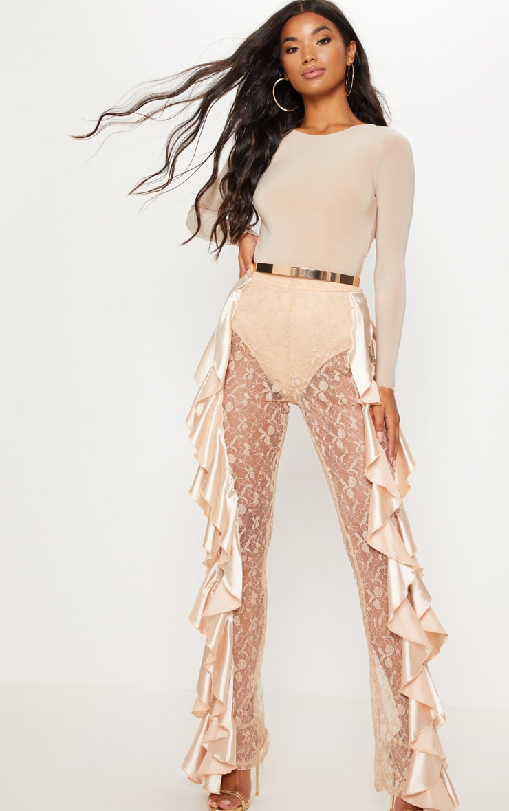 Nude Lace Ruffle Detail Flare Leg Trouser