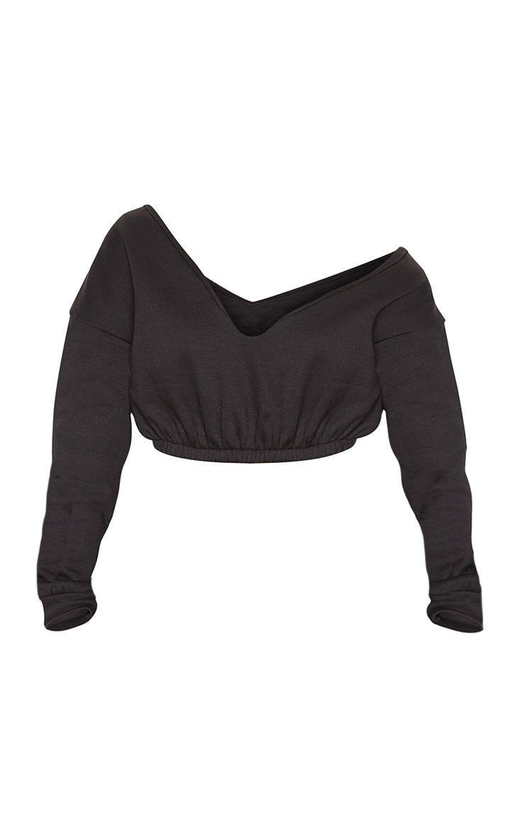Black Crop Off Shoulder Sweater 4