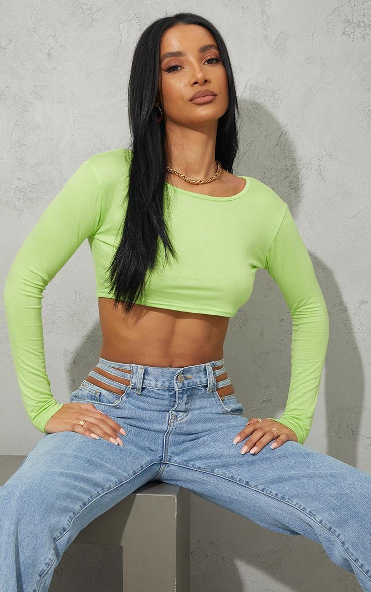 Lime Green Basic Jersey Long Sleeve Crop Top