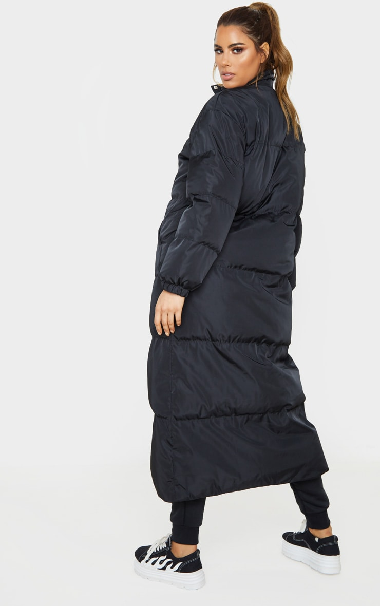 Tall Black Longline Puffer Coat 2