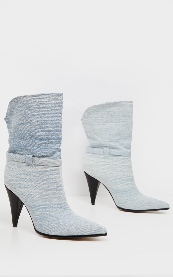 Denim Cone Heel Ankle Boot 3