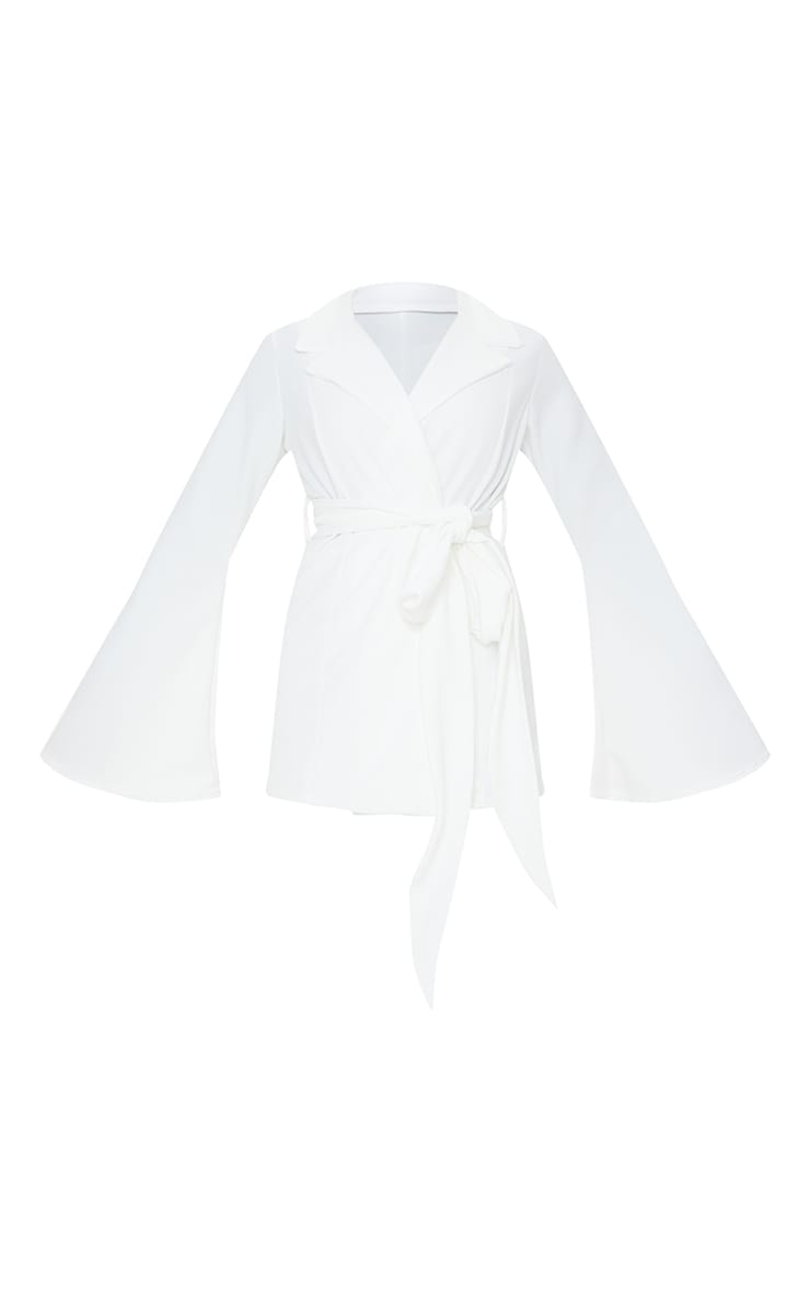 Cream Crepe Flare Sleeve Tie Jacket 5