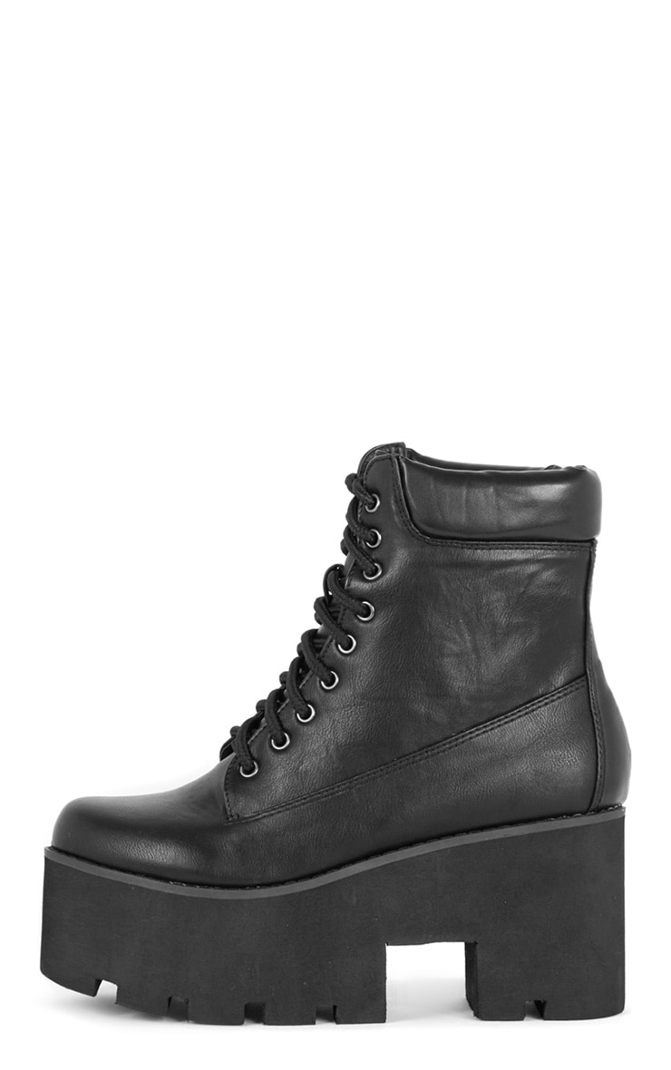 Nova Black Lace Up Wedged Boot 1