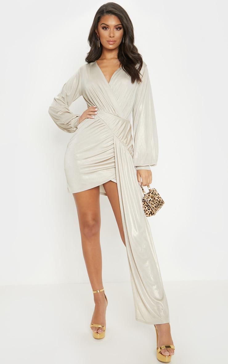 Champagne Metallic Slinky Drape Detail Bodycon Dress 1