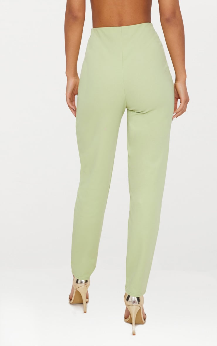 Sage Green Slim Leg Crepe Pants 3