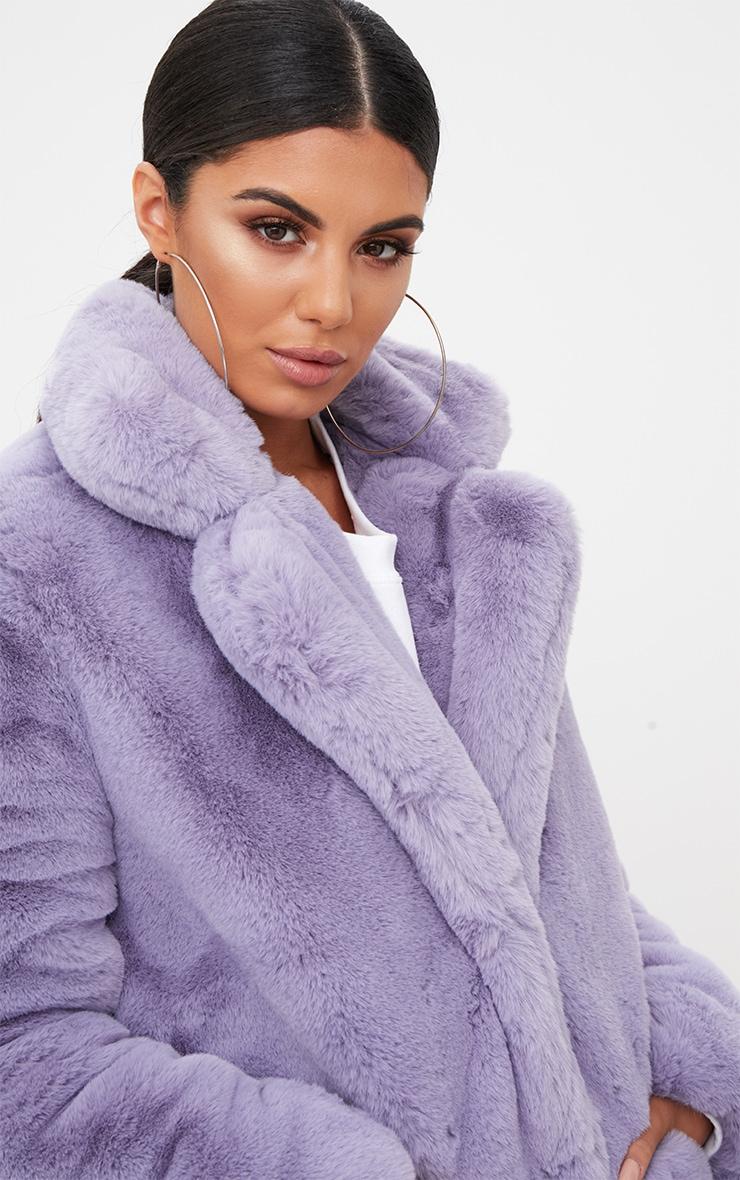 5f005987d70 Lilac Premium Faux Fur Coat image 5