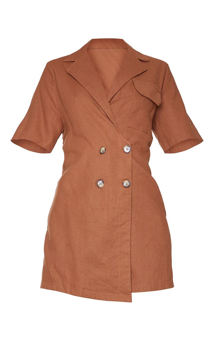 Chocolate Linen Look Boxy Playsuit 5