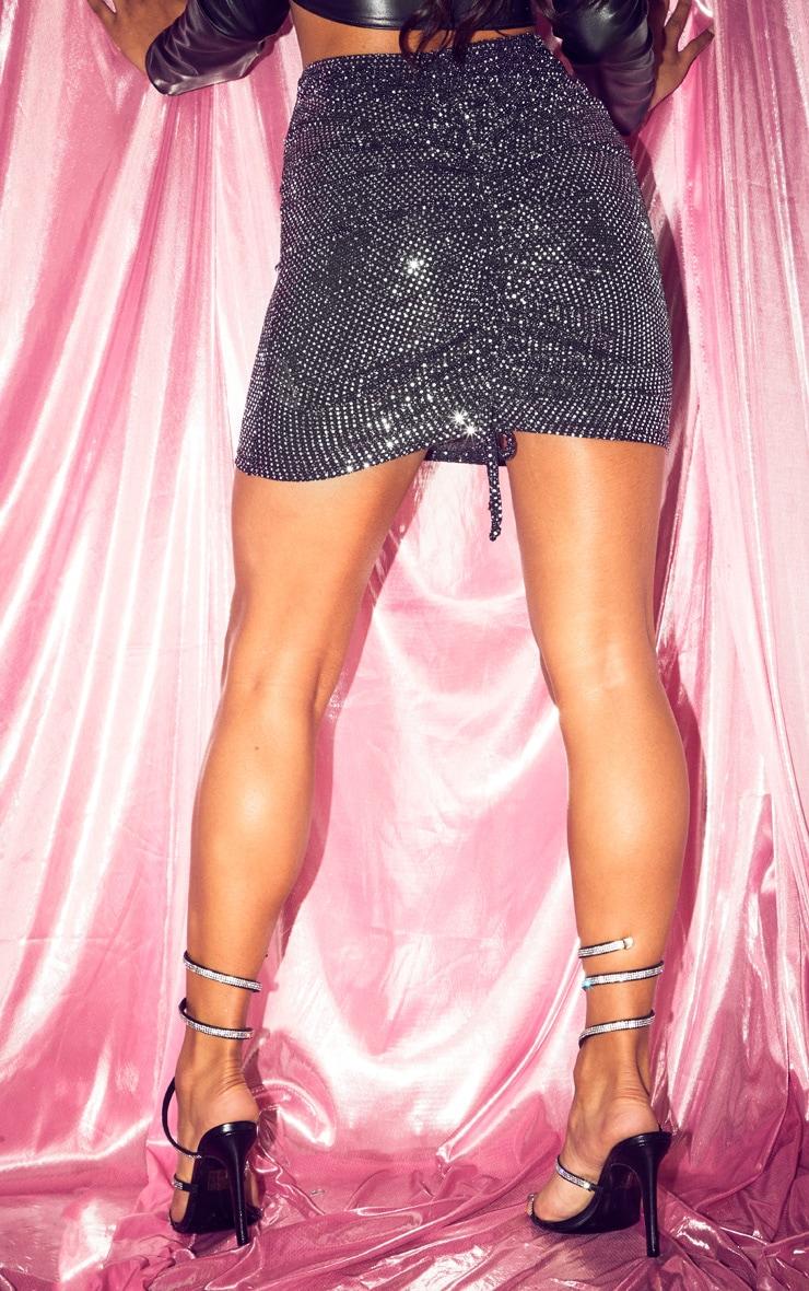 Black Sequin Ruched Bum Mini Skirt 4