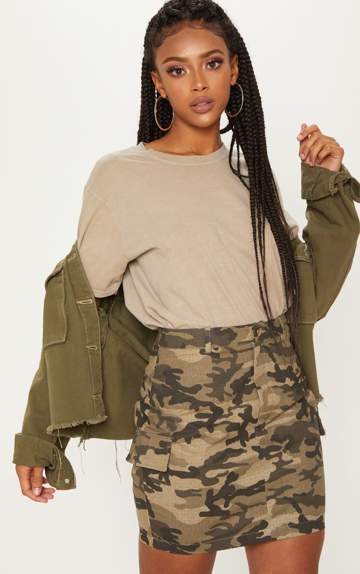 Green Cargo Camo Mini Skirt 5