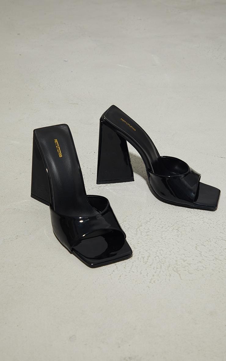 Black Patent Triangle High Block Heel Mules 4