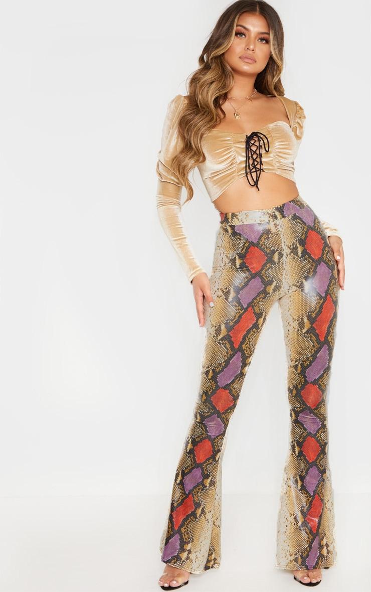 Multi Snake Print Coated Flare Leg Pants 1
