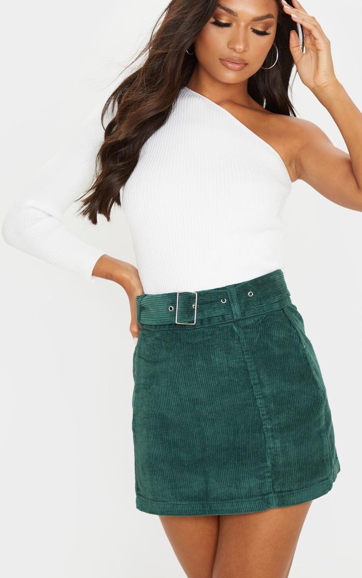 Forest Green Cord Belted Denim Mini Skirt 7