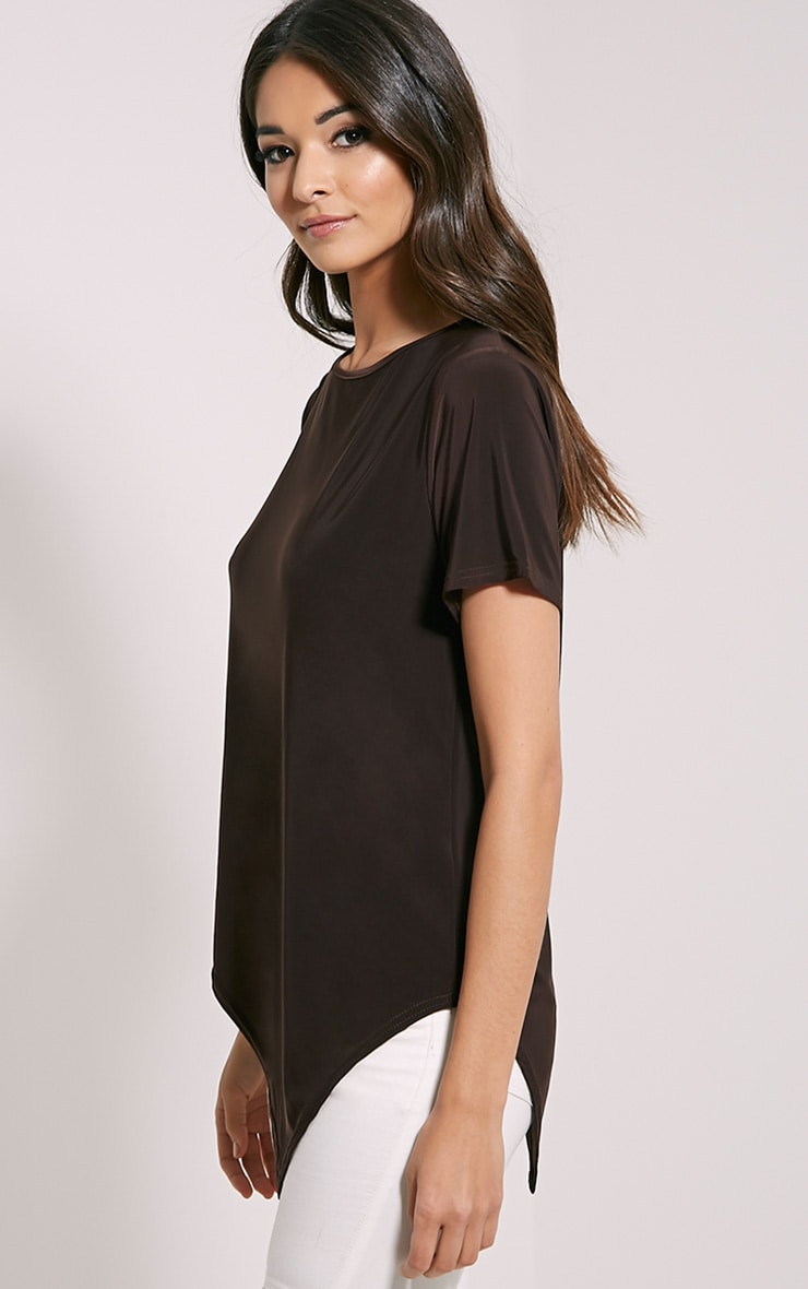 Meimei Chocolate Brown V Hem T-Shirt 4