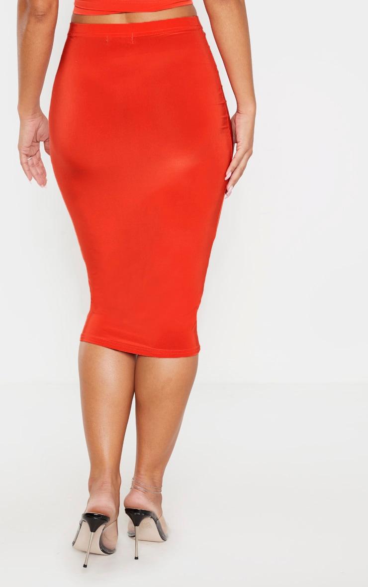 Bright Orange Slinky Midi Skirt 4