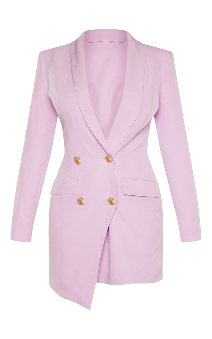 Petite Lilac Button Woven Blazer Dress 3