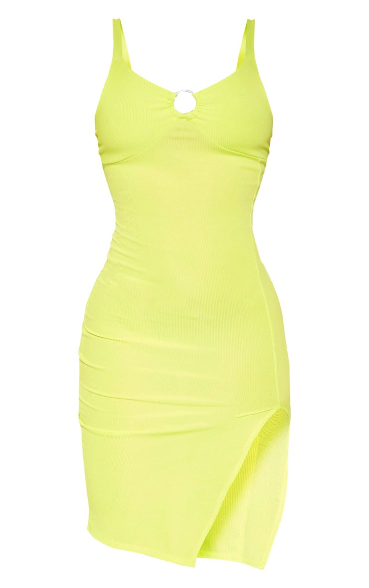 Neon Lime Ribbed Ring Detail Sleeveless Midi Dress 2
