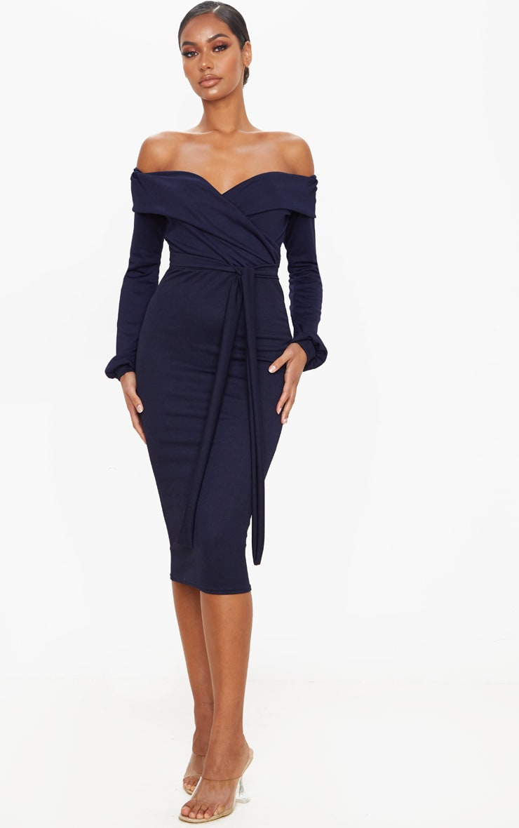Navy Long Sleeve Wrap Bardot Midi Dress 1