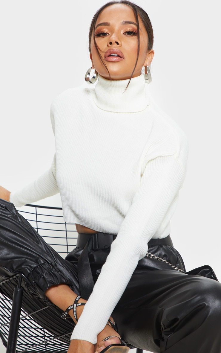 Cream Ribbed Cropped Roll Neck Sweater 1