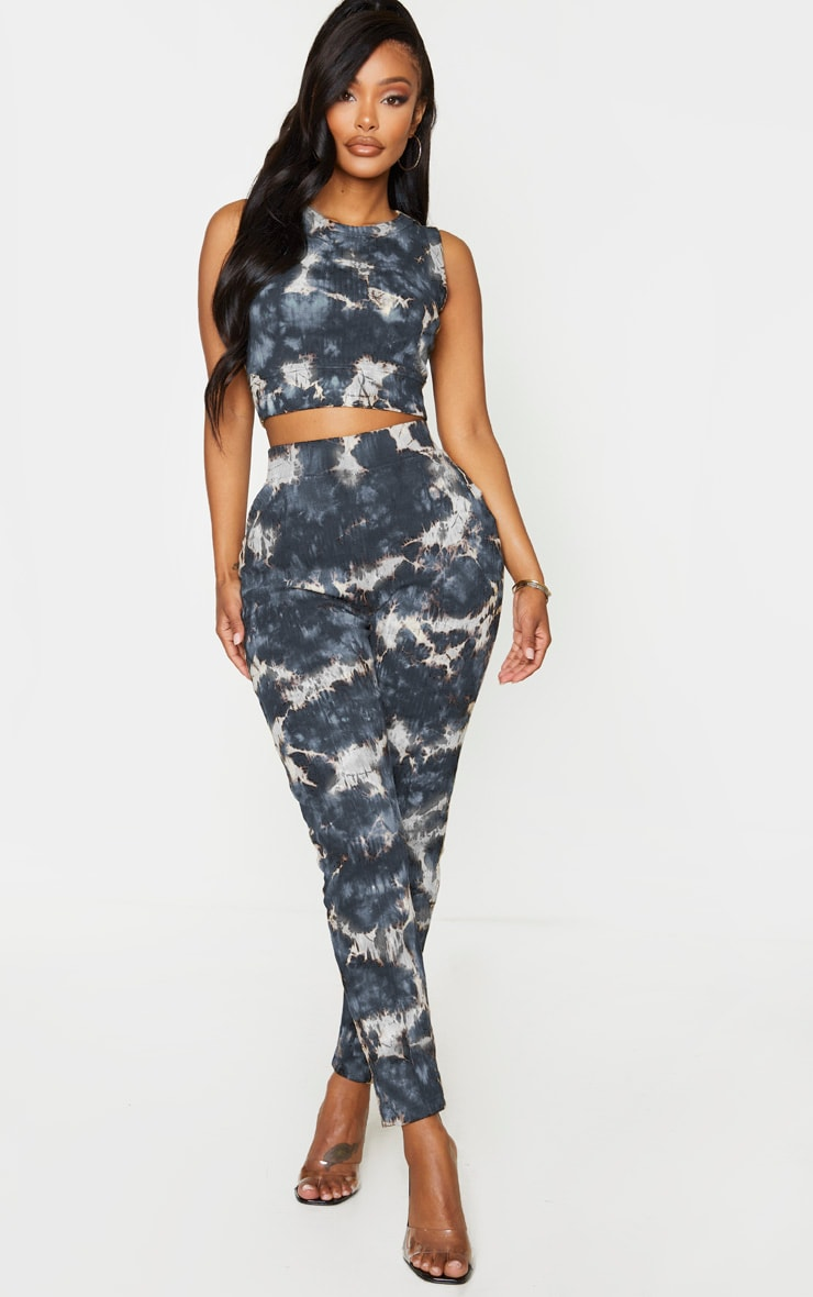 Shape Charcoal Tie Dye Thick Rib Sleeveless Crop Top 3