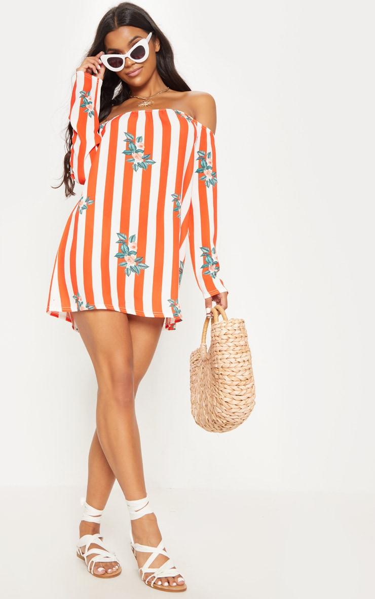 Red Stripe Floral Print Bardot Flare Sleeve Smock Dress