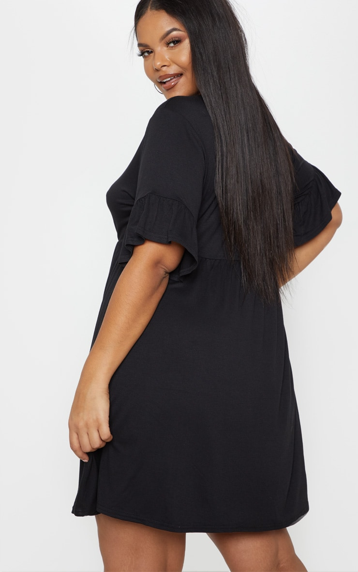 Plus Black Frill Detail Smock Dress 2