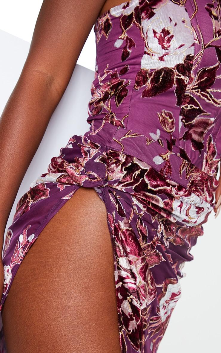 Violet Floral Print Velvet Tie Split Side Midi Skirt 4