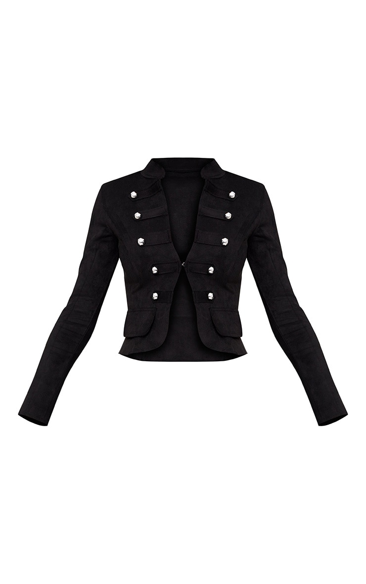 Black Faux Suede Military Jacket 3