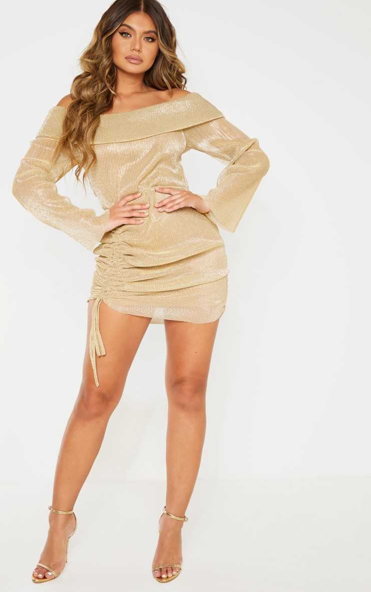 Gold Metallic Plisse Bardot Ruched Bodycon Dress 4