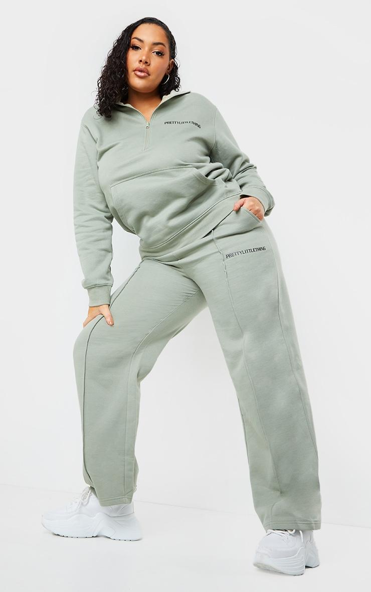 PRETTYLITTLETHING Plus Sage Khaki Seam Detail Straight Leg Track Pants