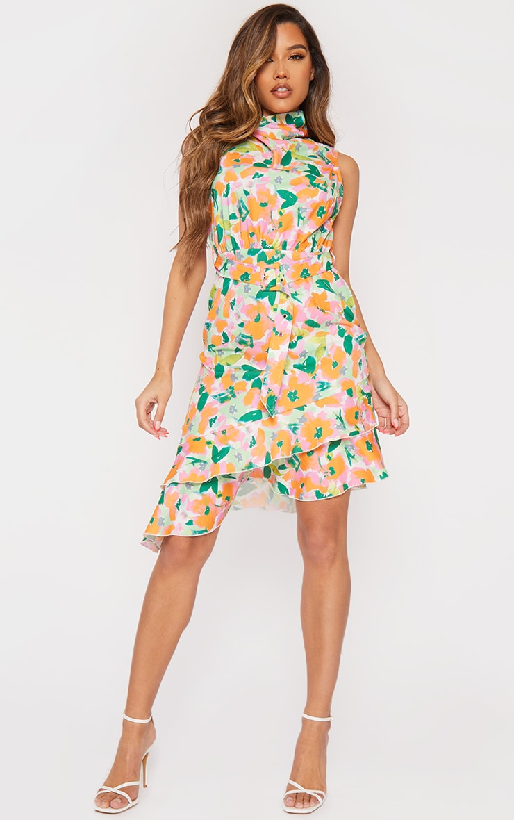 Green Floral Belted Asymmetric Frill Hem Midi Dress 3