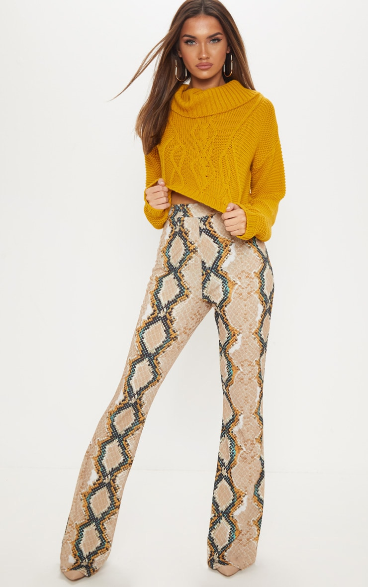 Stone Snake Printed Flared Trouser  1