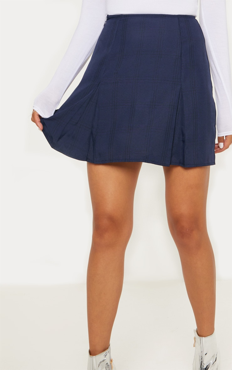 Navy Pleated Hem Check Mini Skirt 6