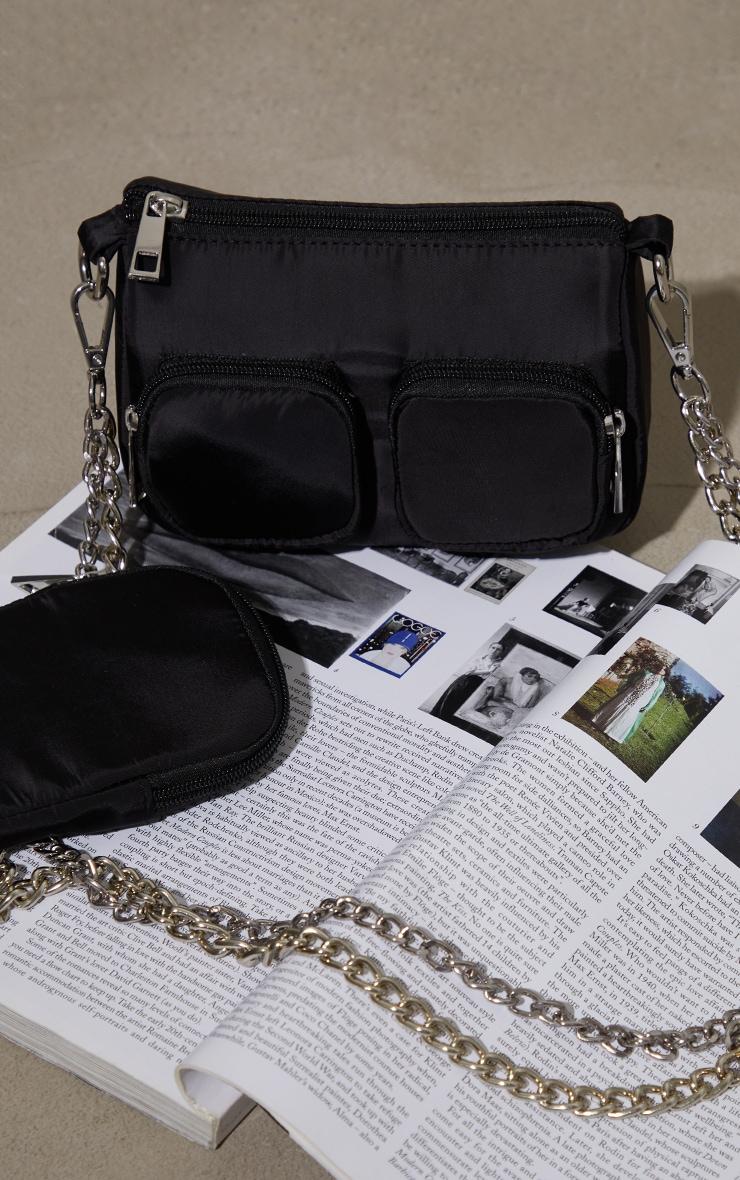 Black Nylon Silver Chain Multi Pocket Cross Body Bag 2