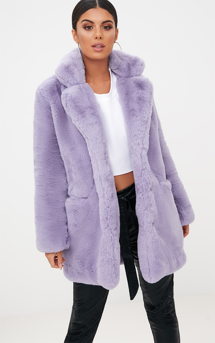 Lilac Premium Faux Fur Coat 1