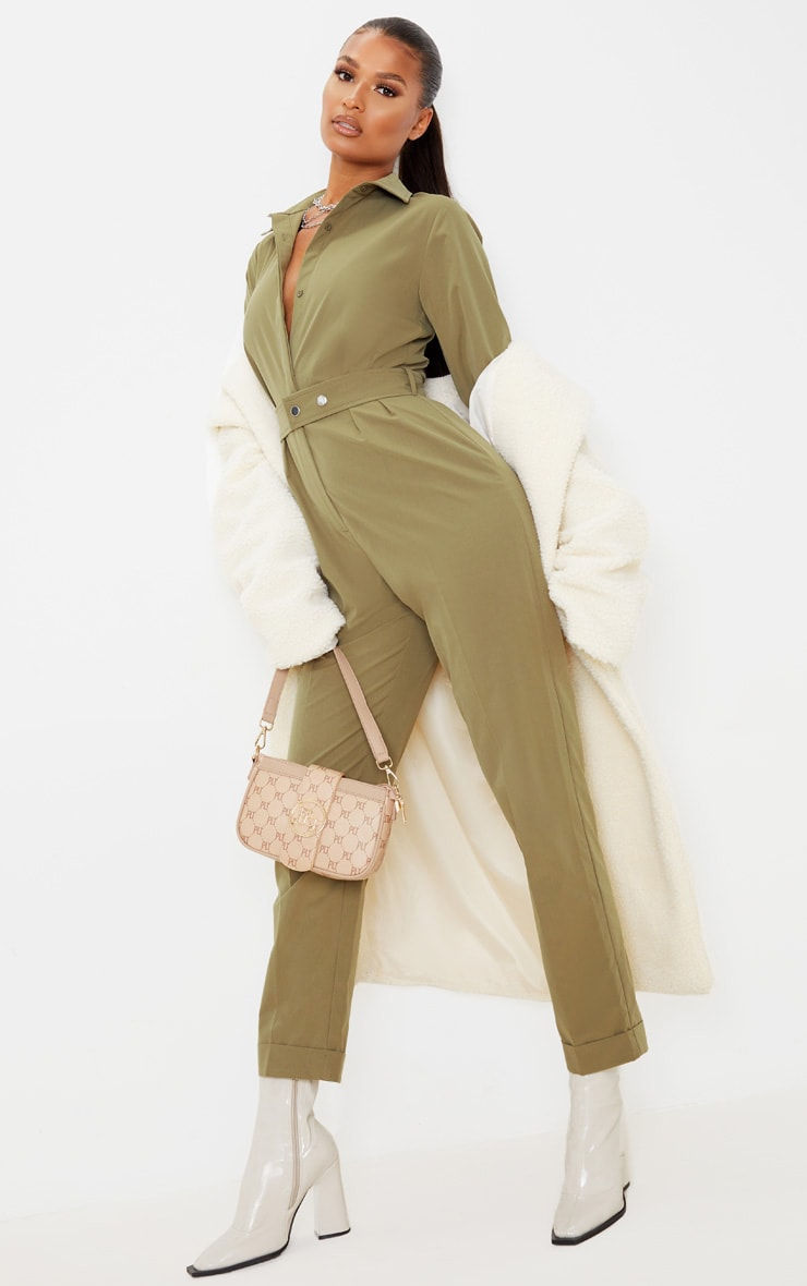 Khaki Tailored Long Sleeve Jumpsuit 1