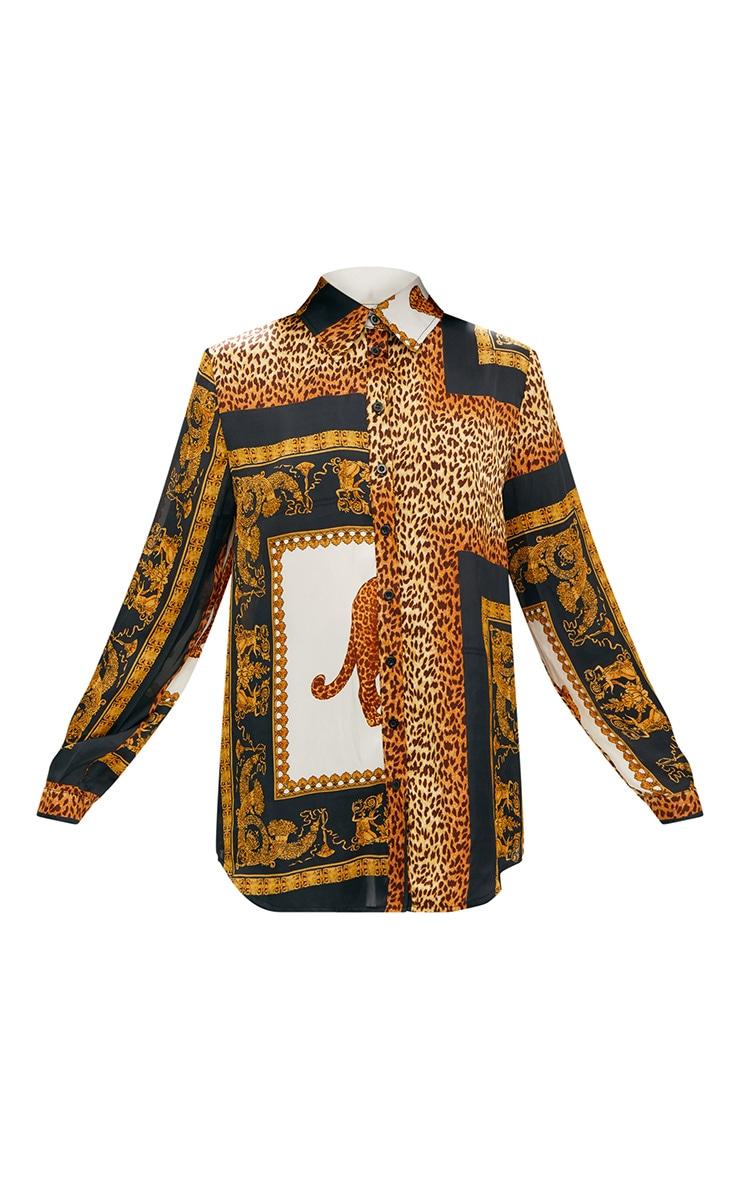 Chemise noire oversized à imprimé léopard 3