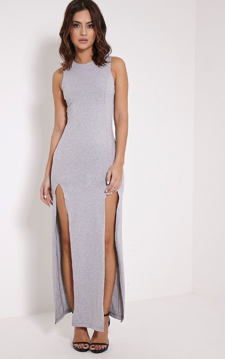 Karina Grey Marl Front Split Dress 1