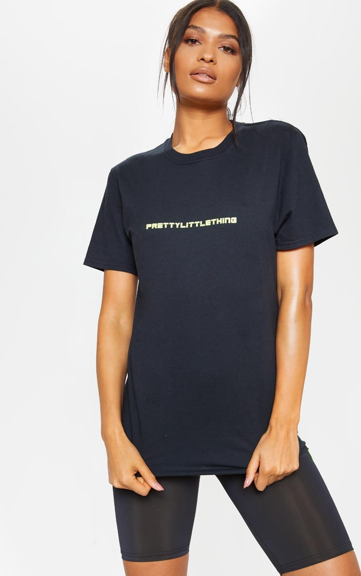PRETTYLITTLETHING Black Gym T-Shirt 1
