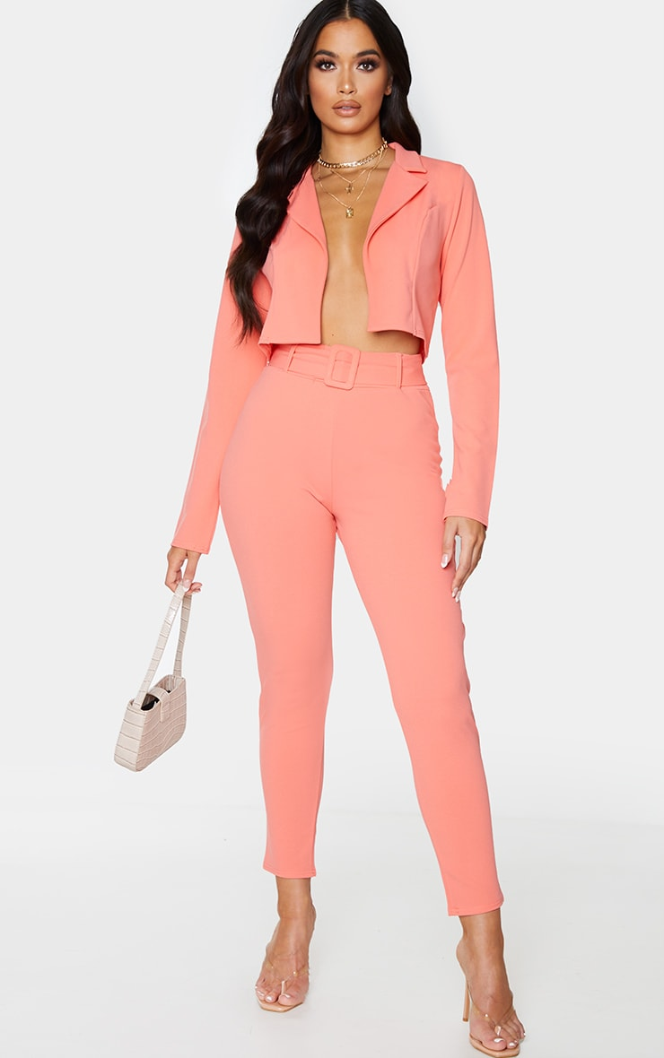 Coral Cropped Suit Blazer 3