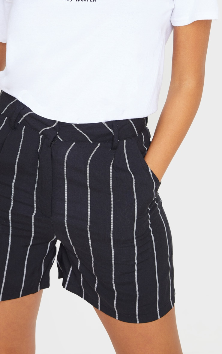 Black Pinstripe Woven Tailored Short 6