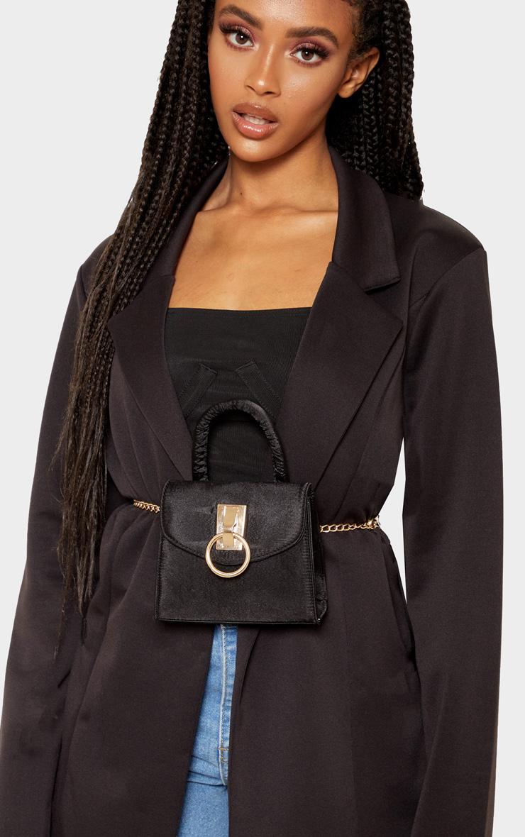 Black Single Handle Chain Belt Bag 1