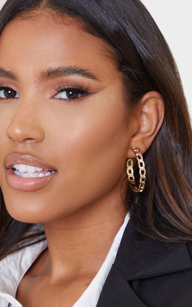 Gold Oversized Chain Hoop Earrings 1