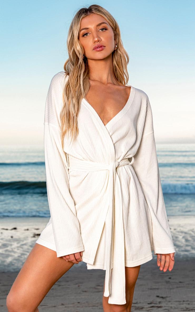 Cream Heavy Rib Long Sleeve Wrap Front Shift Dress 1