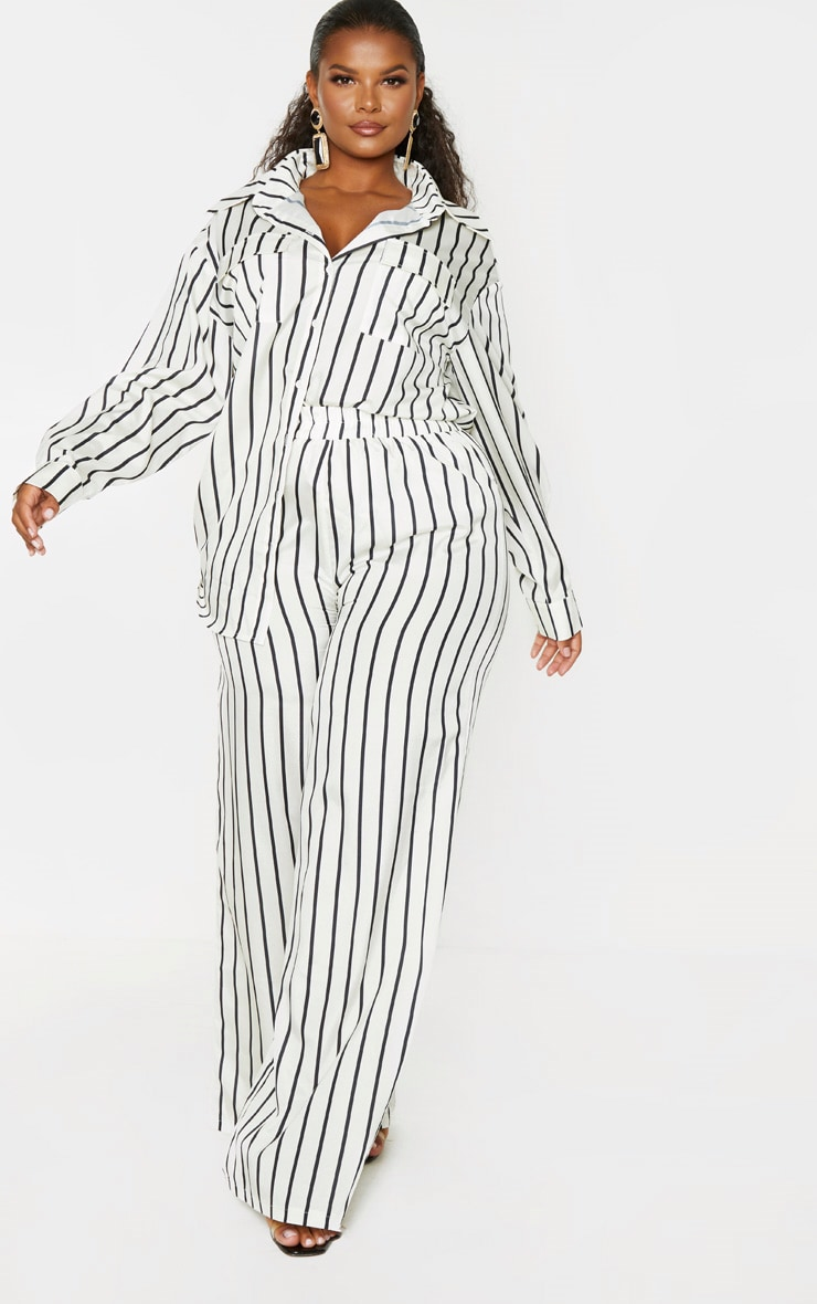 Plus Cream Striped Print Wide Leg Pants 6