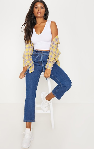 Mid Wash Straight Leg Paperbag Jean