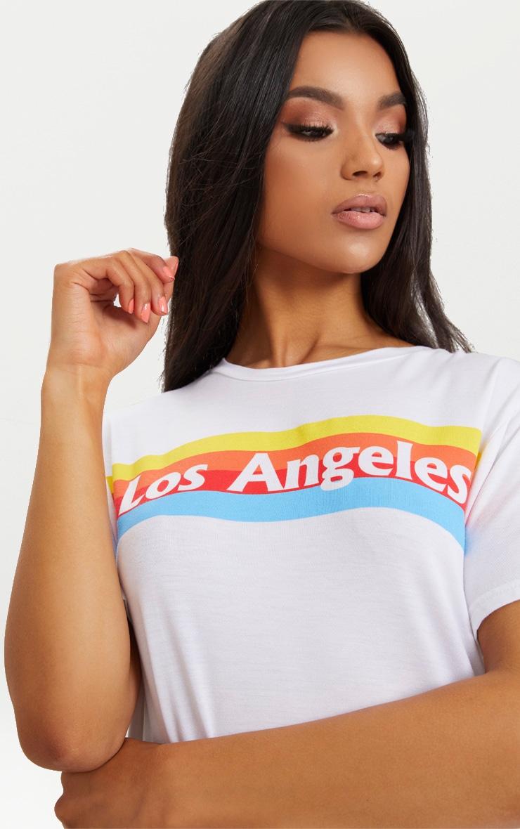 White LA Rainbow Print T Shirt Dress 5