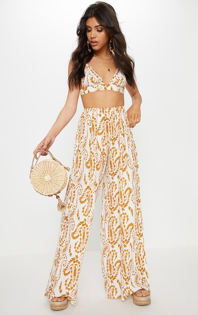 71ee102d0634 White Paisley Print Wide Leg Trousers
