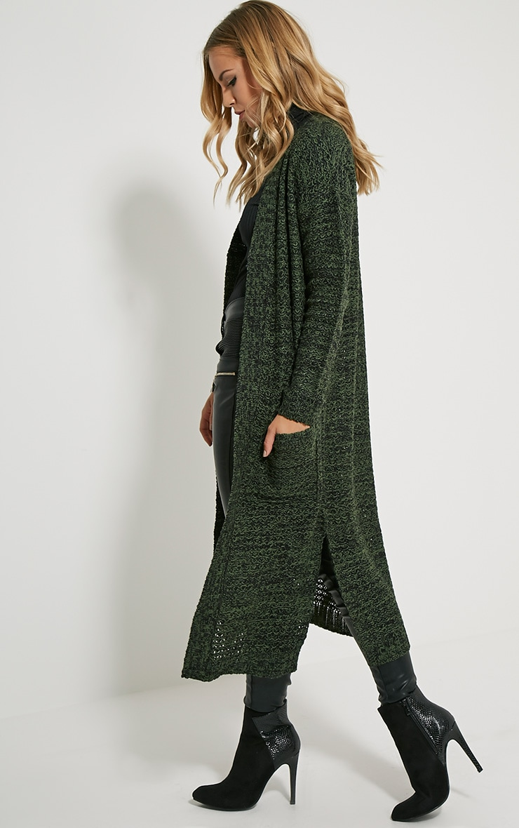 Hadley Khaki Longline Knitted Cardigan 4