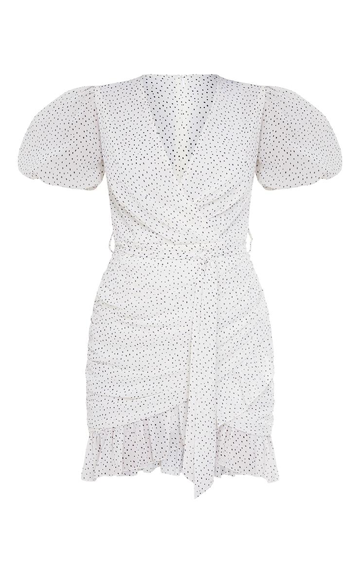 White Polka Dot Chiffon Puff Sleeve Ruched Bodycon Dress 5