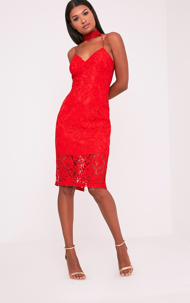 Ciana Red Choker Detail Lace Midi Dress 1